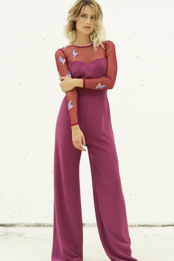 idée vêtement pour un mariage, combinaison aux manches longues avec bustier et jambes larges, look chic et stylé femme invitée