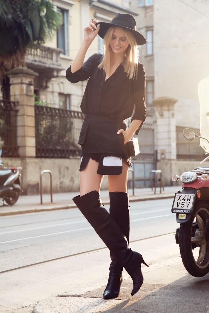 Look cuissarde cuir 2018, comment porter des cuissardes tendance, comment s habiller en automne chic