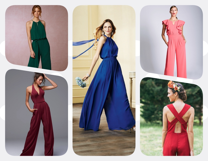 quel vêtement choisir pour assister à une cérémonie, modèle de combinaison à jambes fluides et col montant de couleur bleu