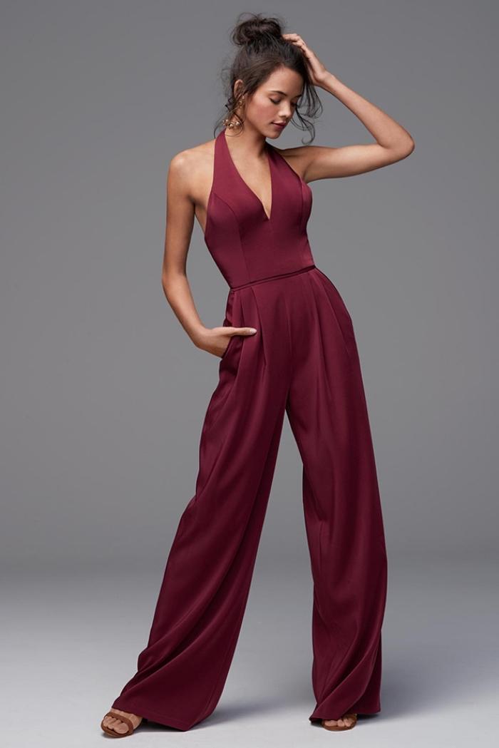 quelle couleur de vêtements pour une cérémonie de mariage, modèle de combinaison dos nu à design fluide et décolleté en V