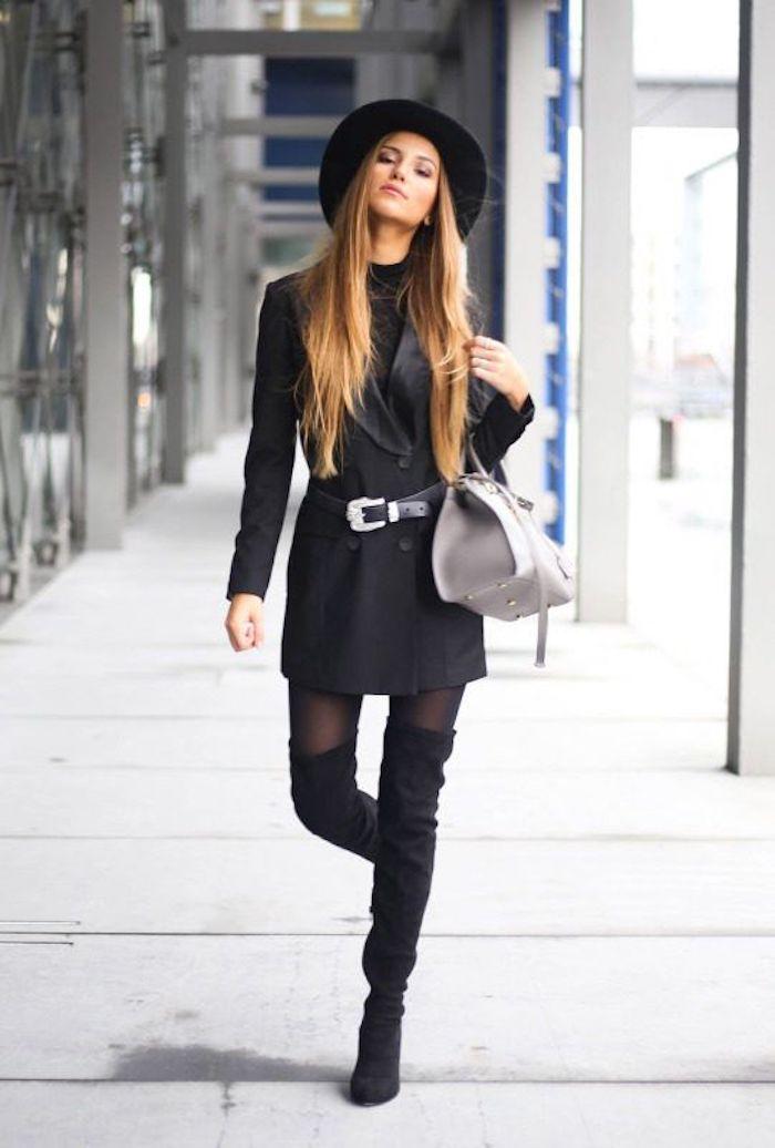 Cuissardes cuir fausse, beau look avec cuissarde noir, tenue avec bottines hautes, chouette idée de tenue chic