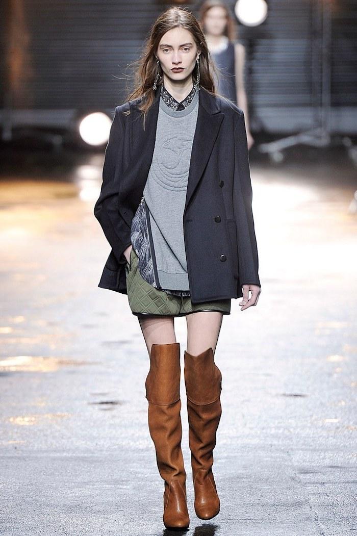 Cuissarde taupe, look avec cuissarde à la mode, tenue d automne avec cuissarde, mode femme revue