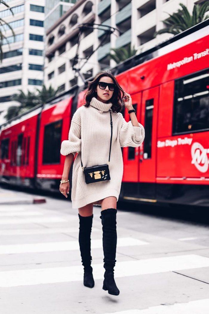 Tenue d'hiver chic, comment être bien habillée avec cuissardes, tenue avec cuissardes, robe pull et bottes