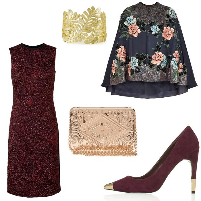 outfit d'automne, pochette lumineuse, escarpins bordeaux aux éléments dorés, pèlerine florale