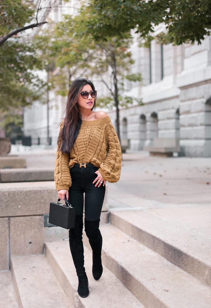 Cuissardes noires avec quel sac à main, tenue avec cuissarde noir et jean noir, tenue d automne avec cuissarde