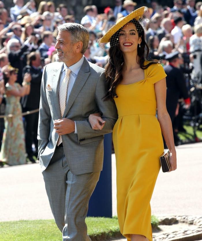robe longue invitée mariage, George et Amal Clooney en tenues élégantes pour le mariage royal