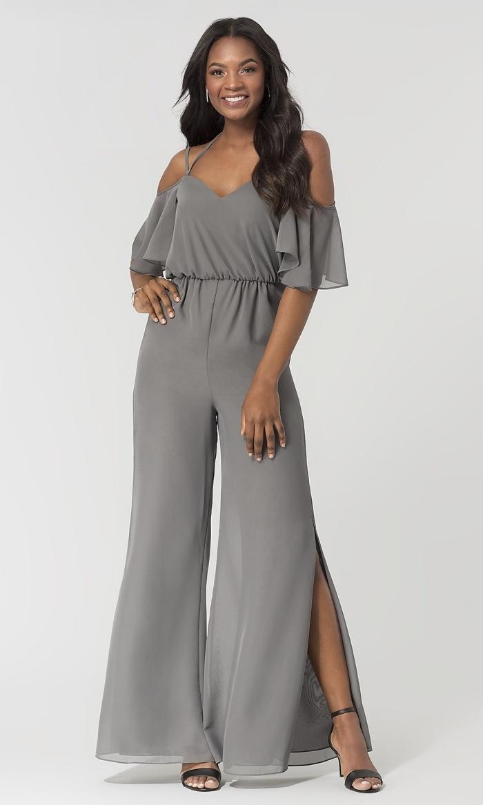 idée pour une tenue mariage invité femme pantalon à jambes larges avec top à bretelles et épaules dénudées