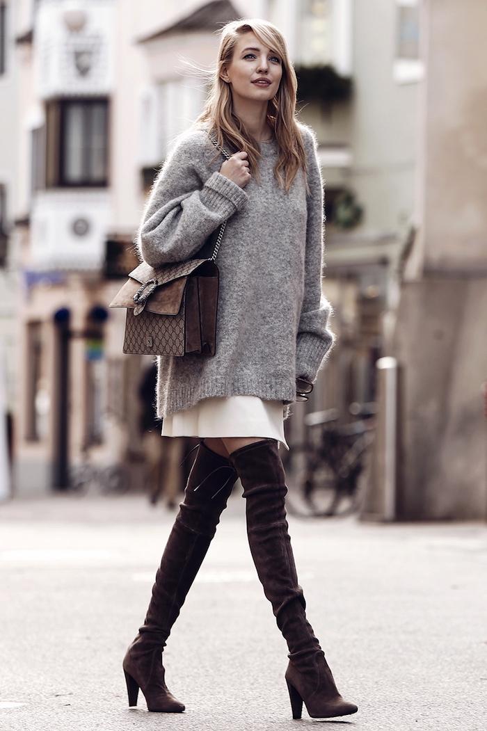 Look cuissarde robe pull, chouette idée tenue décontractée chic pour l'automne, un look avec cuissarde cool
