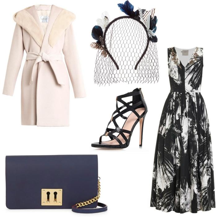robe longue invitée mariage, escarpins noirs, sac bleu, manteau rose poudré, diadème de cheveux