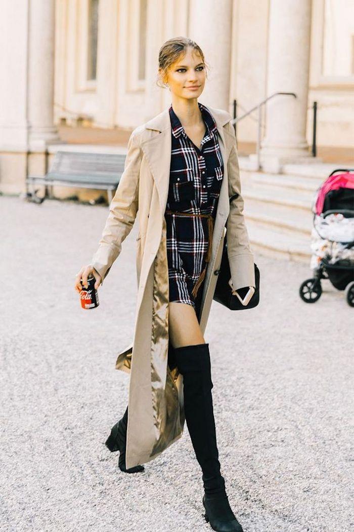 Comment porter des cuissardes ,look avec cuissarde, mode féminine look, manteau camel long et robe chemisier carrée