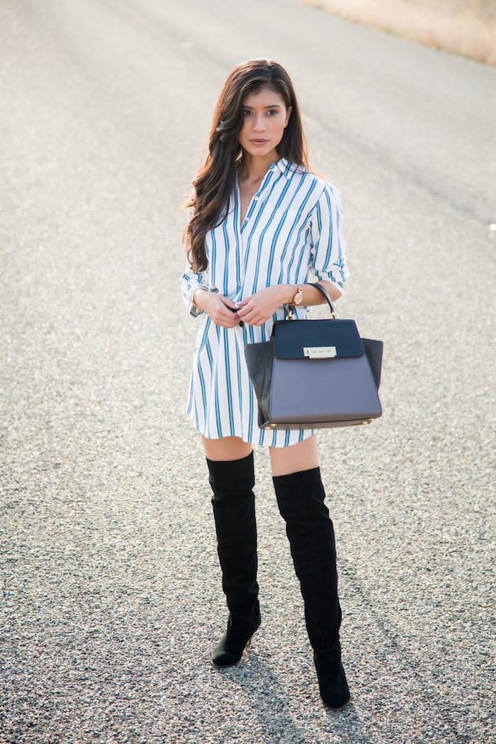 Cuissarde taupe, look avec cuissarde, tenue d automne avec cuissarde mode femme, robe chemisier pour un look automne cool