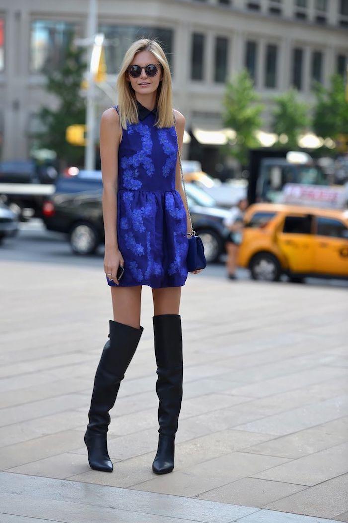 Cuissarde et robe élégante, look avec cuissardes velours, comment s'habiller aujourd hui automne chaude
