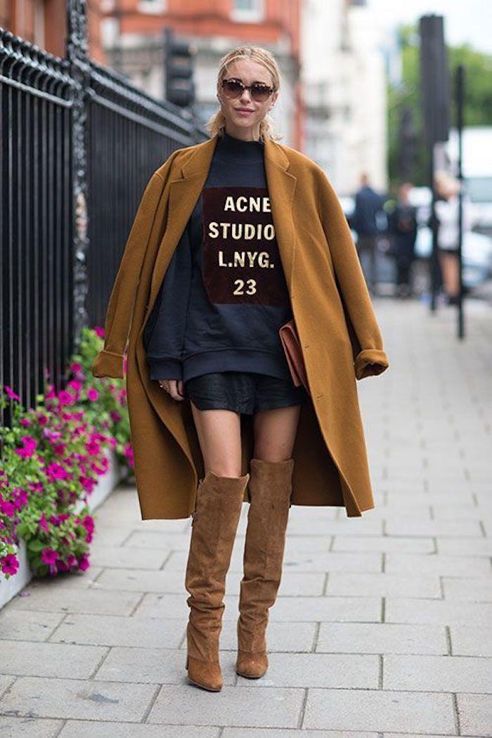 Manteau et cuissarde camel ou marron, comment les associer, tenue avec cuissarde pour petite, comment s habiller cet automne 2018