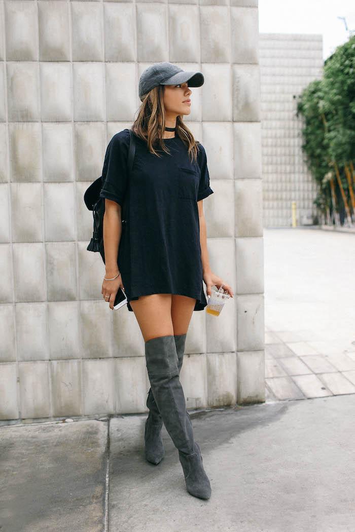Cuissardes cuir et longue tee-shirt, tenue avec cuissardes swag femme, comment s habiller en automne