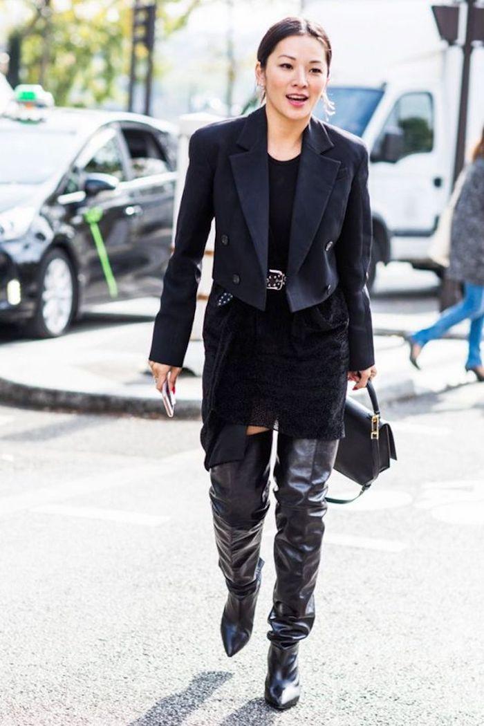 Comment porter des cuissardes, tenue avec cuissarde femme, tenue stylée pour l'automne
