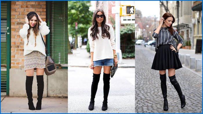 Cuissarde jean combinaison femme celebre, cuissardes cuir comment s habiller quand on est petite, trois idees tenue