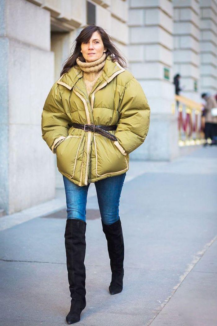 Look avec cuissarde et veste grande, idée tenue avec cuissardes, cuir à la mode sans efforts