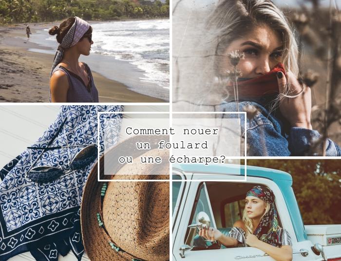 coiffure avec foulard cheveux femme, accessoires tendance avec capeline beige et foulard bleu marine et blanc à motifs géométriques