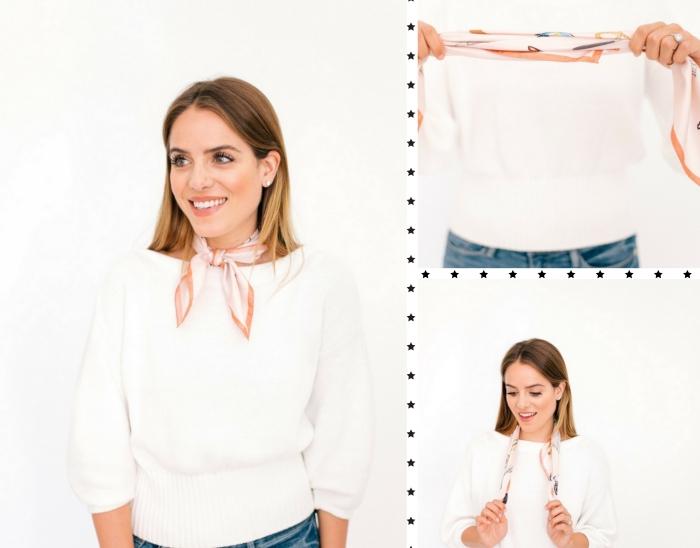 tutoriel pour faire un noeud foulard, mettre un foulard autour du cou, accessoire mode femme avec foulard carré