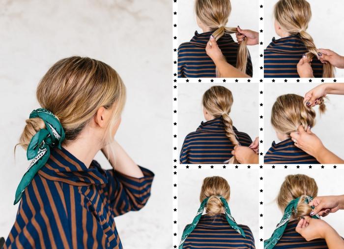 étapes à suivre pour réaliser une coiffure casual chic en chignon bas avec foulard, comment attacher un foulard dans les cheveux