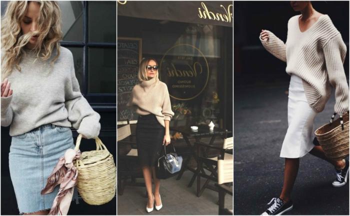 Trois options de tenue pull et jupe pour l'automne ou l'hiver, cool idée comment s'habiller pour avoir ni trop chaud ni trop froid