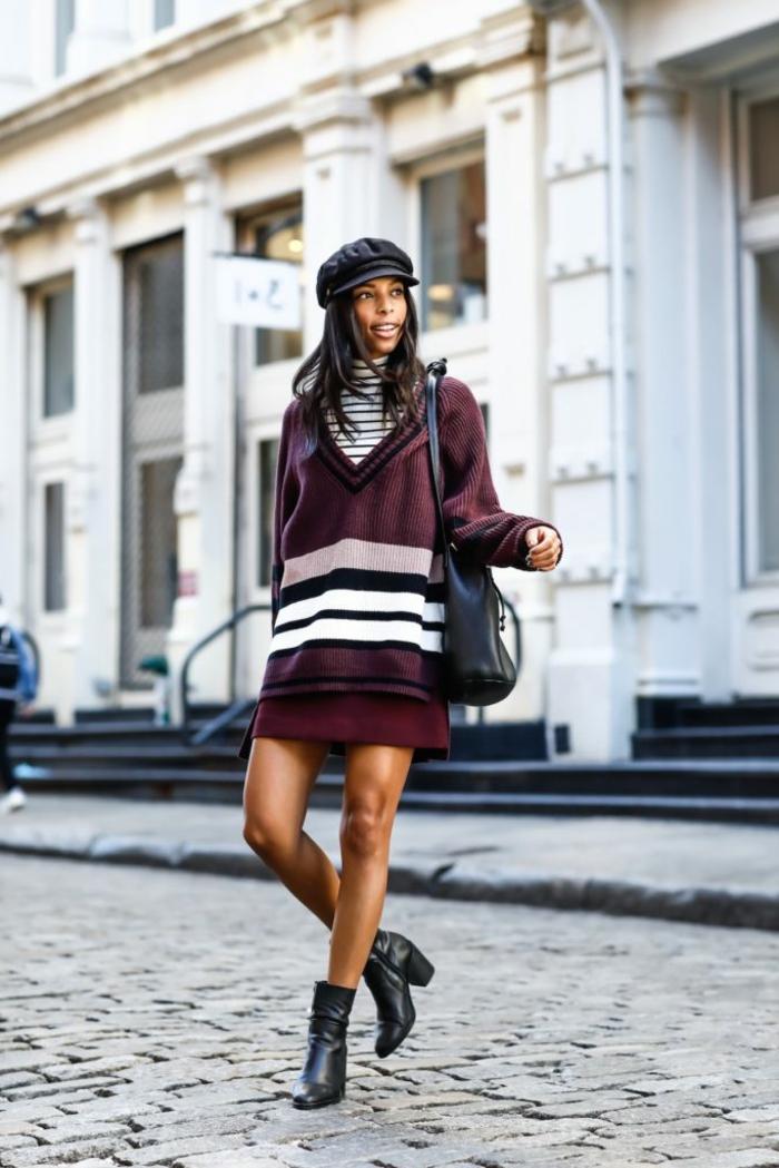 Blouson long d hiver, femme vetement hippie, adopter le style boheme chic, choix vetements moderne, bottes et robe blouse