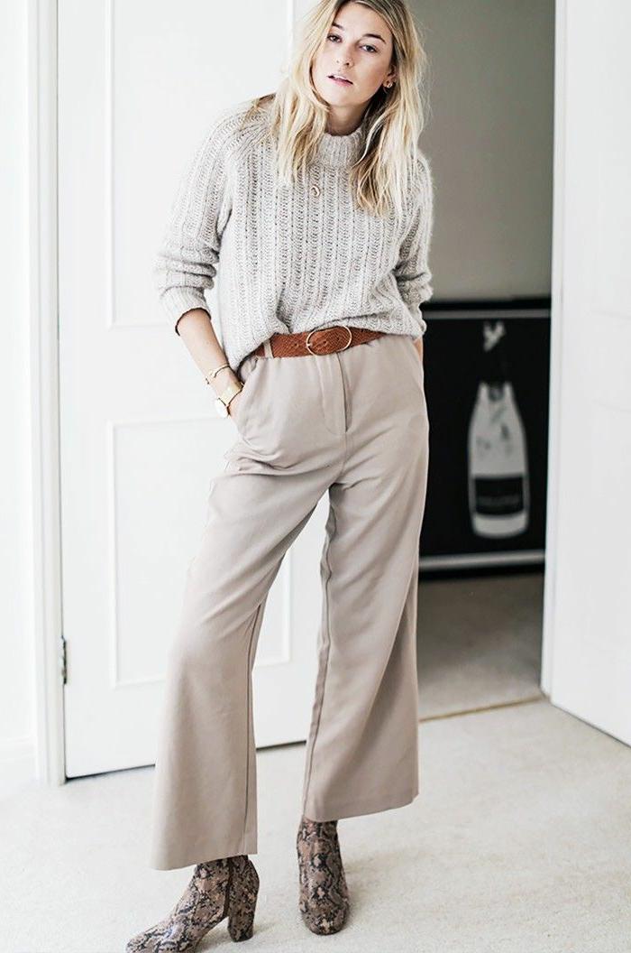 Vetement boheme simple, tenue décontractée chic pour femme qui veut se différer, idée tenue beige stylée