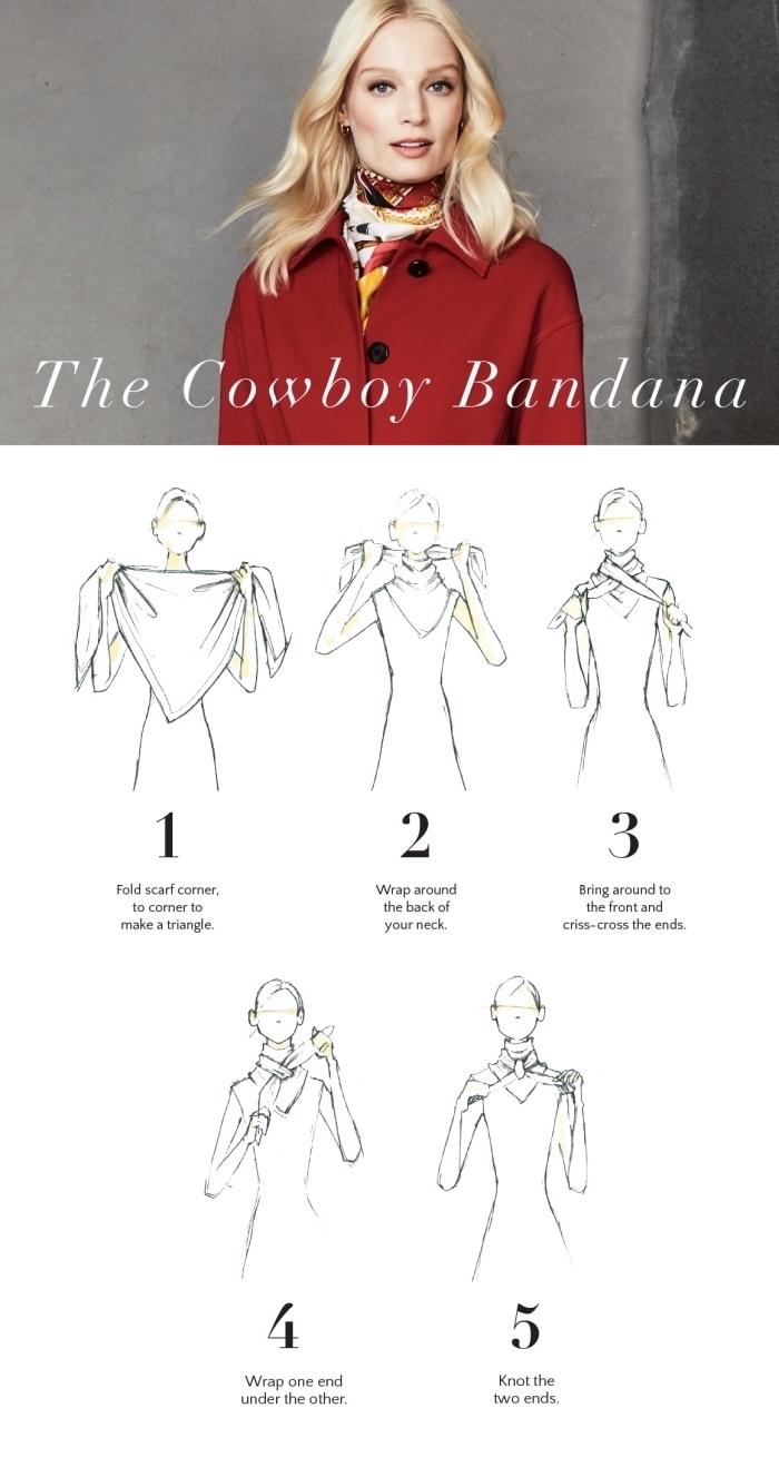 tutoriel facile pour apprendre comment faire un noeud foulard autour du cou, idée comment porter un foulard femme