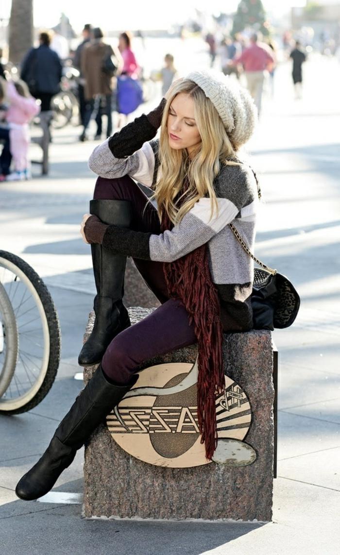 Vetement boheme, look bohème chic femme vêtements pour hiver, femme tenue simple, comment s'habiller pour l'hiver au style décontracté chic
