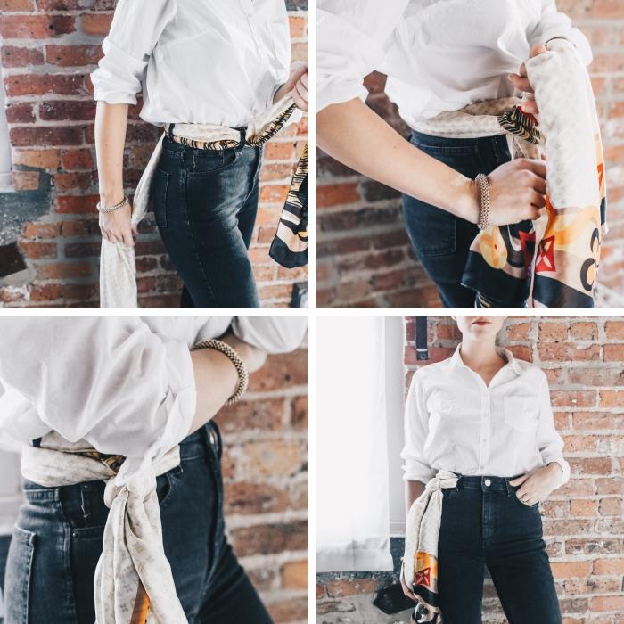 modèle noeud echarpe ou foulard comme ceinture, idée comment porter un foulard, nouer un foulard autour de la taille
