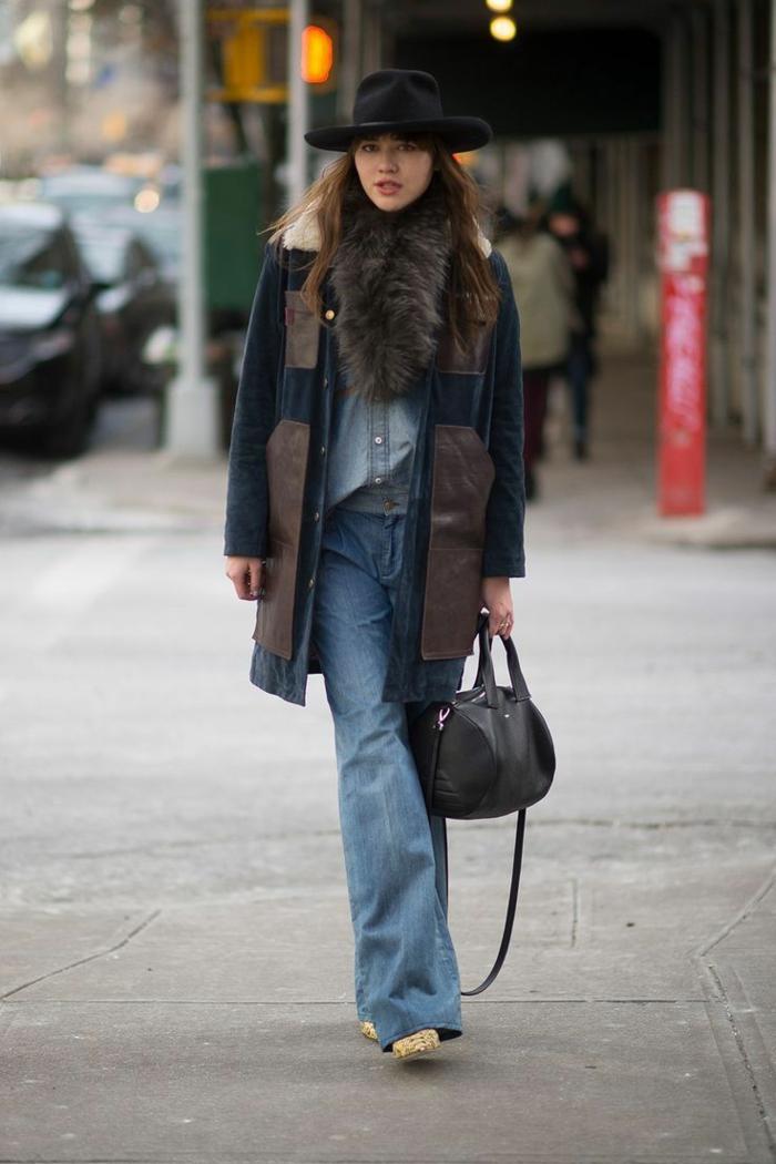 Manteau fausse fourrure et echarpe fausse fourrure, tenue tout en jean femme comment s'habiller aujourd hui hiver edition