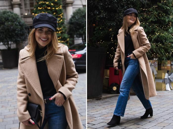 manteau beige, casquette navy bleue, manteau beige en laine, coupe structurée, bottes noires et jeans