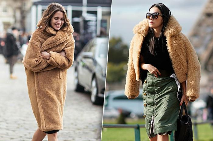manteau fausse fourrure cocon, jupe courte, manteau style teddy bear, style d'hiver femme