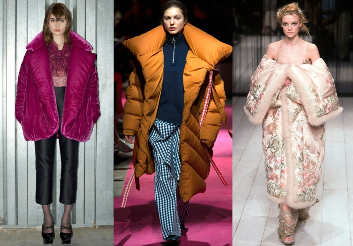 style d'hiver 2018, doudoune femme chaude surdimensionnée, grand col, manteau lilas, ocre, rose brodé