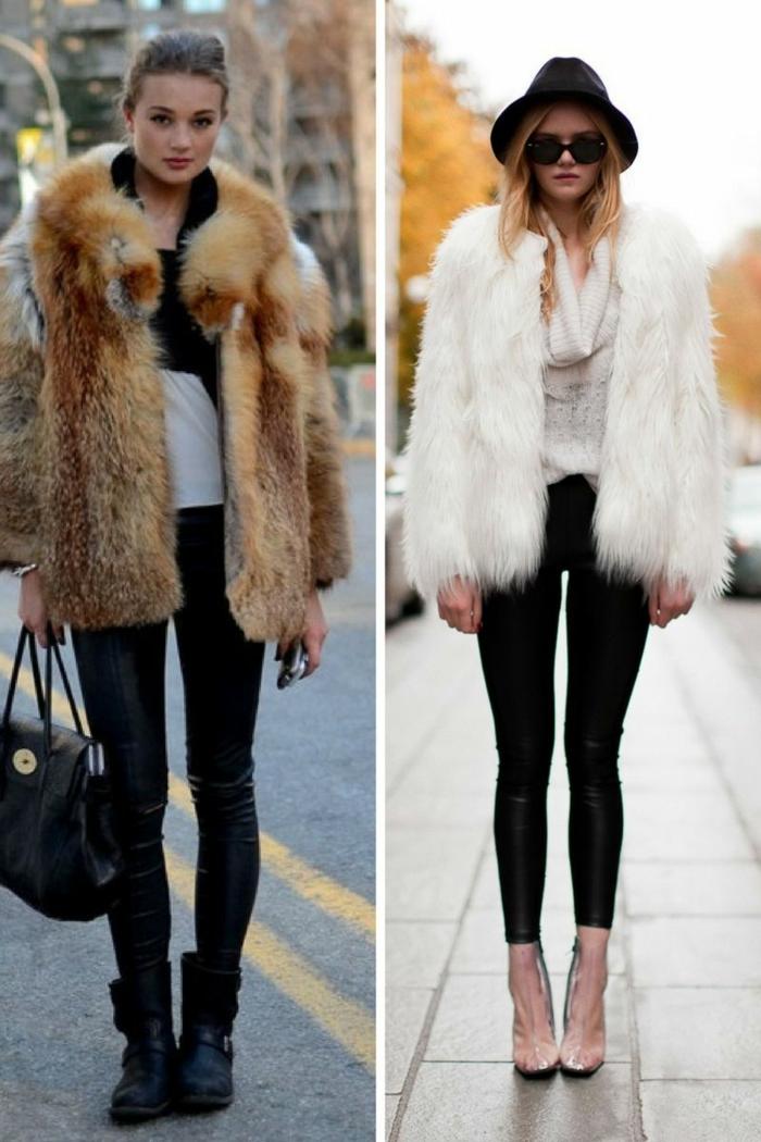 leggings en cuir, manteau fourrure, top blancs, bottes noires, escarpins roses