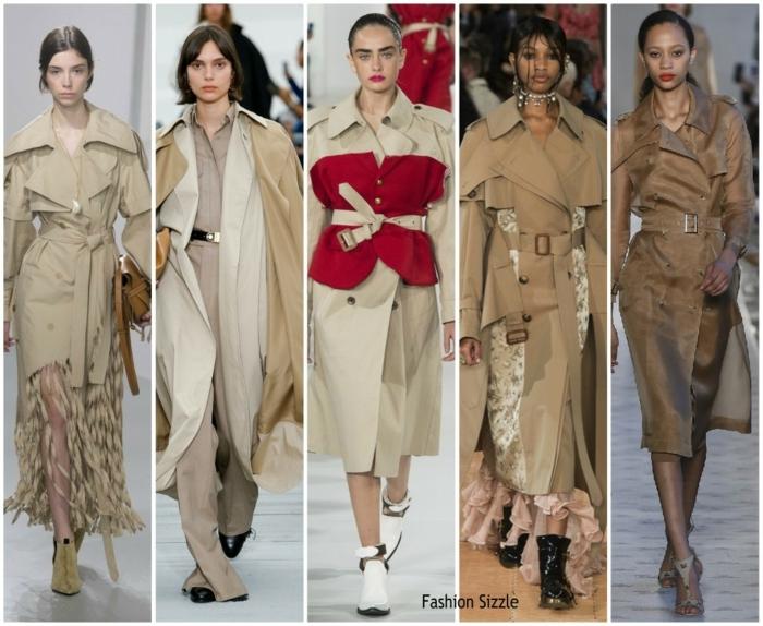 manteaux longs style trench présentés à un défilé de mode, robes longues, bottes couleurs neutres, manteaux couleur beige