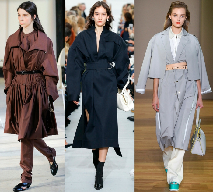 manteau trench surdimensionné, ceinture, bottes noires, chaussures turquoises, ceinture, coupe destructurée