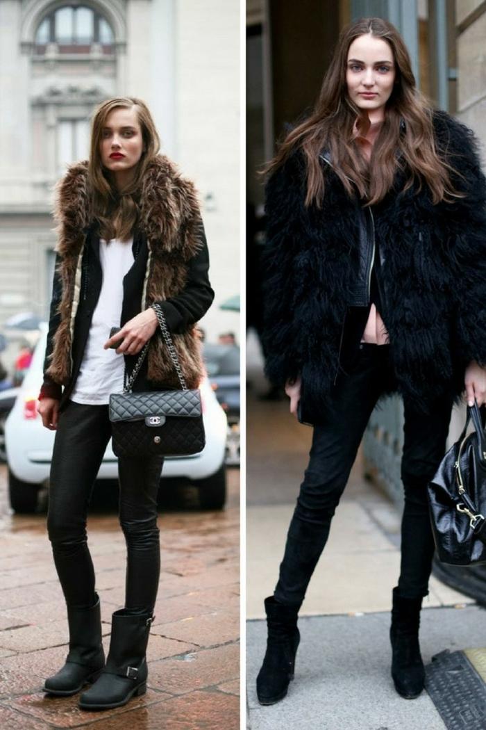 manteaux fourrure, sac matelassé, col fourrure, tenue de tous les jours automne hiver