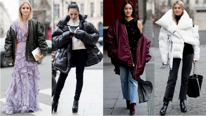 robe lilas aux volants, manteau court, doudoune volumineuse, jeans et bottes à hauts talons