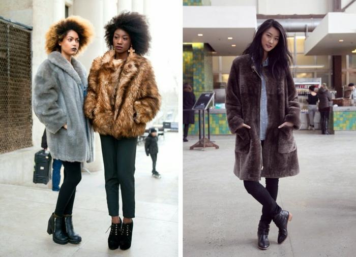 femmes afro, manteaux en fausse fourrure, bottes noires, manteau gris, veste fourrure taupe