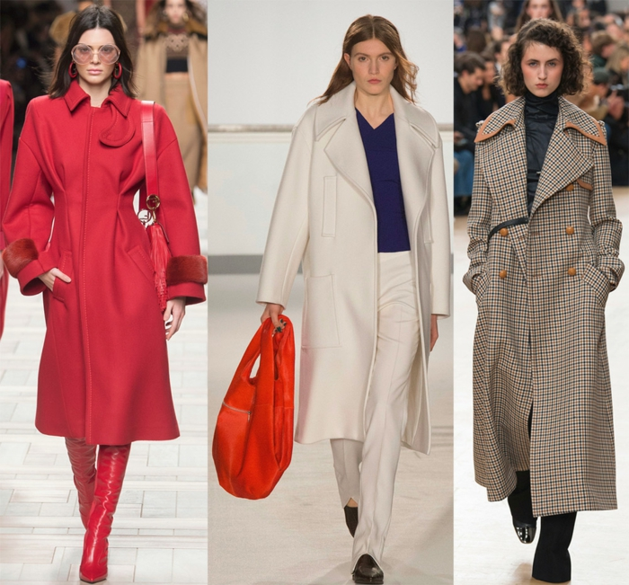 manteaux longs coupes féminines, grand sac orange, cuissardes rouges, trench carré long, trench blanc