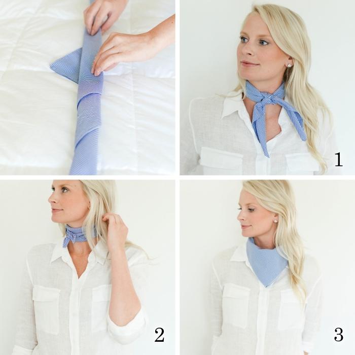 technique nouage foulard autour du cou, idée accessoire femme, exemple comment mettre un foulard autour du cou