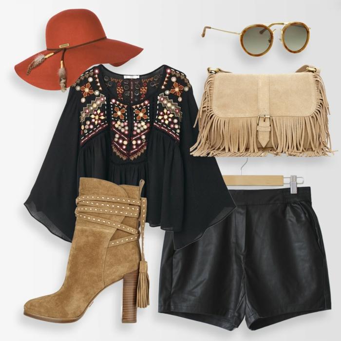 Jupe ou pantalon courte cuir, comment associer le pantalon court en hiver pour faire une tenue boheme, style boheme chic, tenue boheme chic moderne tenue