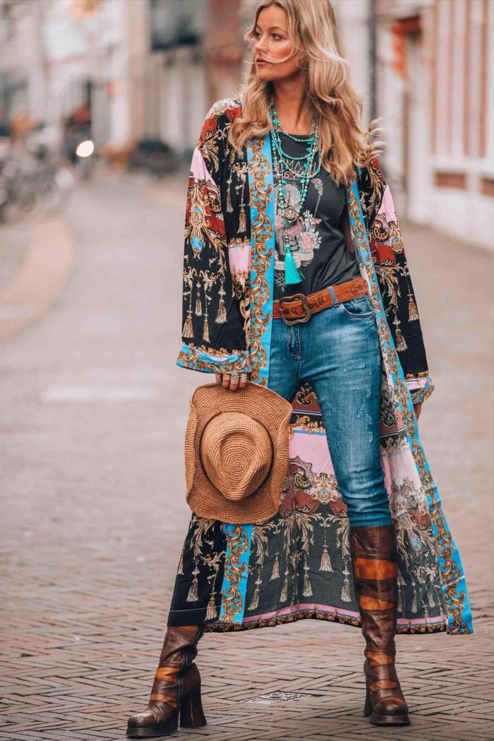 Comment porter pull oversize femme comment porter le maxi pull, femme belle tenue jean et kimono longue