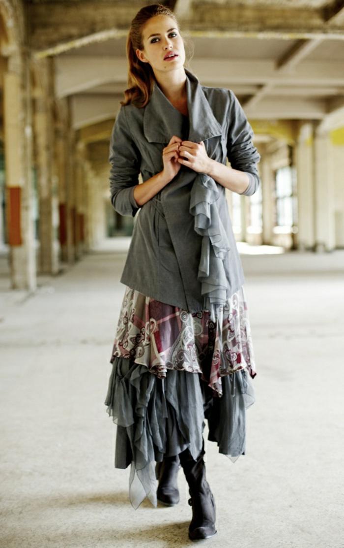 Look bohème chic, comment s habiller en hiver tenue chic sans effort, jupe longue et veste mi longue