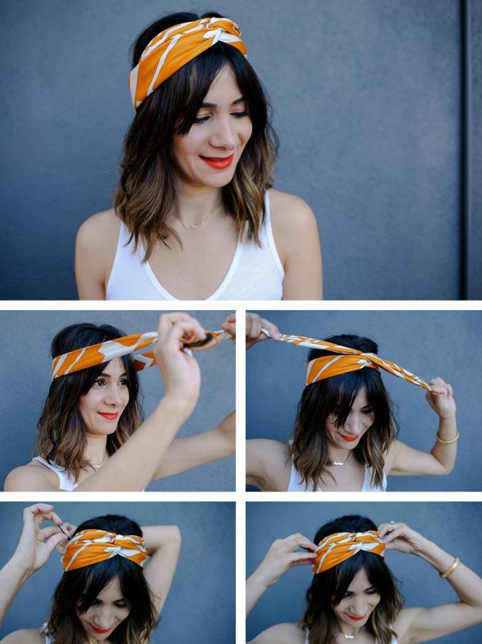 exemple comment mettre une écharpe ou un foulard façon turban, coiffure de cheveux avec accessoire de tête