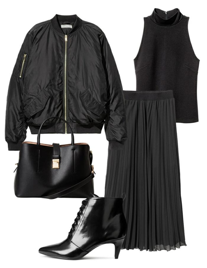 comment porter le manteau noir, sac noir, botte laquée noire, longue jupe plissée,