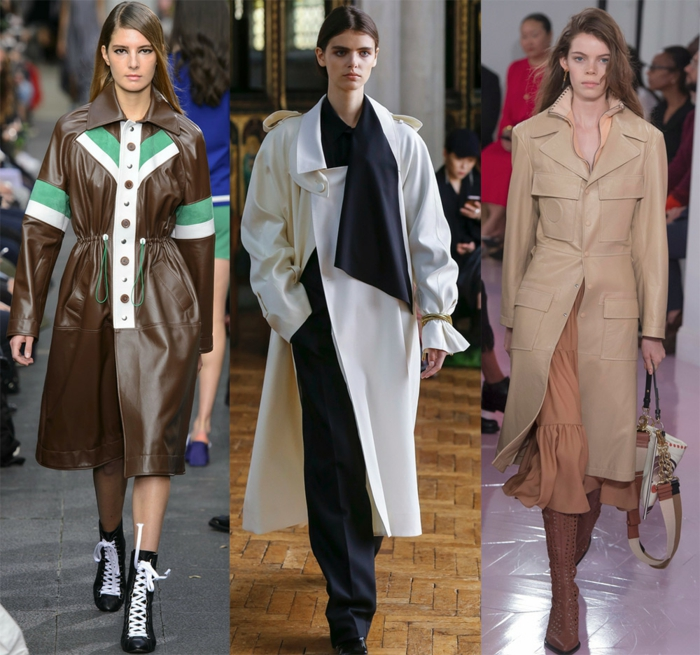 veste longue en cuir, long manteau couleur crème, trench beige, robe couleur rose poudré