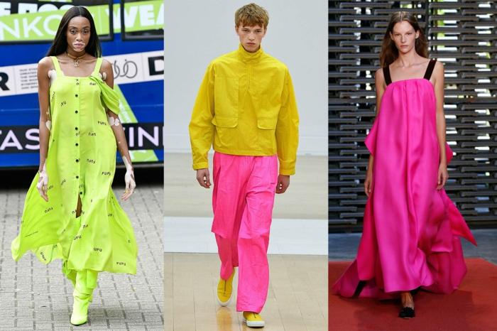Robe longue couleur néon, combinaison femme soirée, mode d'été 2020, femme et homme habillées en tenue coloré néon tendance
