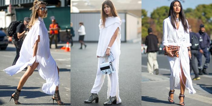 Blanche robe été femme, vetement femme tendance, idée de tenue à la mode femme 2020, robe chemisier originale, sandales à talon
